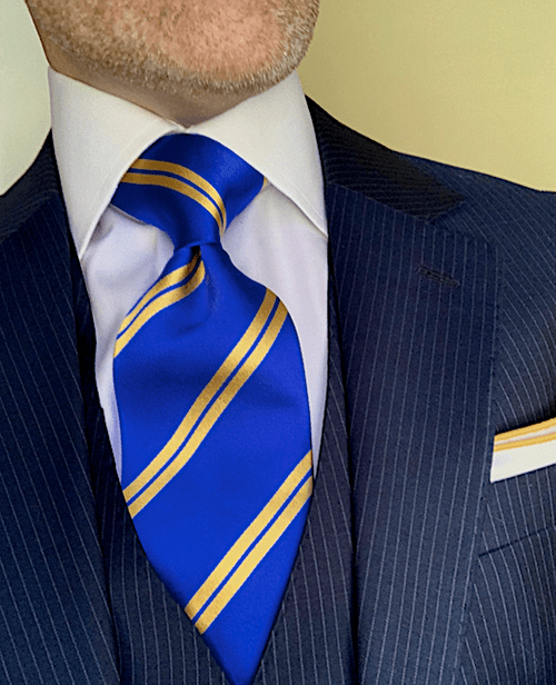 NEW - Royal Blue with Gold Academic Stripe Tie