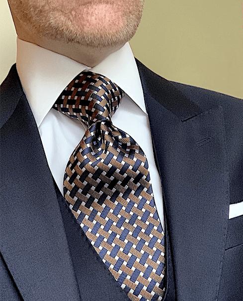 NEW - Autumn Navy Trellis Tie