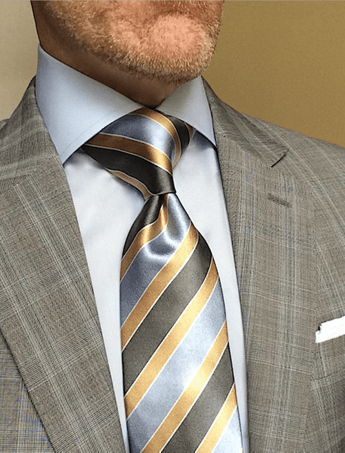 CLEARANCE: Rainy Day Gold Blue Grey Striped Tie