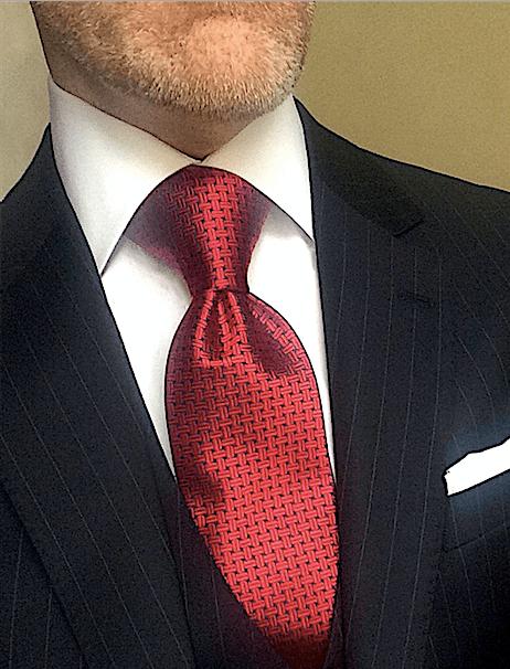 Red Navy Basketweave Tie