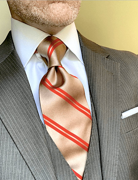 NEW - Tan with Red Academic Stripe Tie