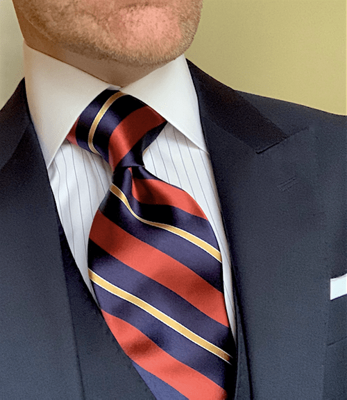 NEW - Rust Navy Gold Striped Tie