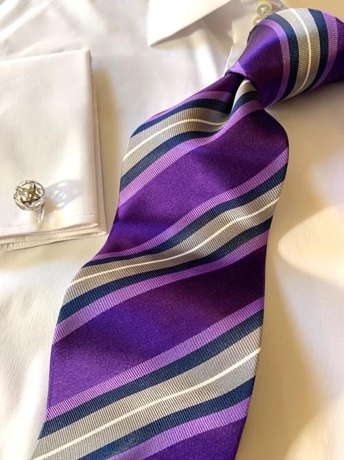 NEW - Purple Navy Silver Ribbon Striped Tie