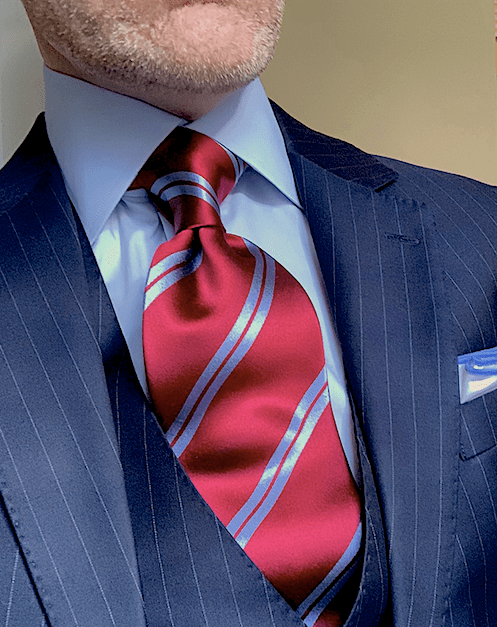 NEW - Burgundy with Light Blue Academic Stripe Tie