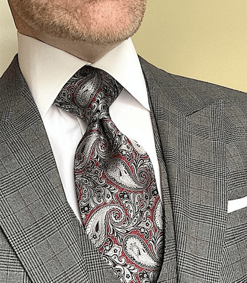 NEW - Burgundy Silver Black Paisley Tie