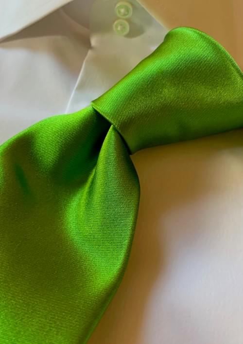 NEW - Bright Fresh Green Solid Satin Tie