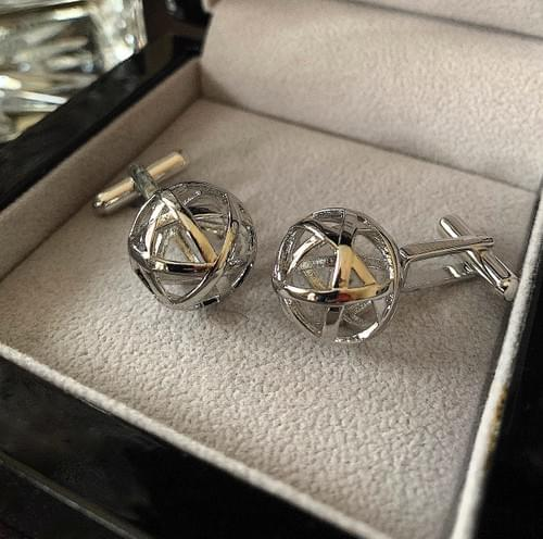 NEW - Polished Steel Banded Spheres Cufflinks