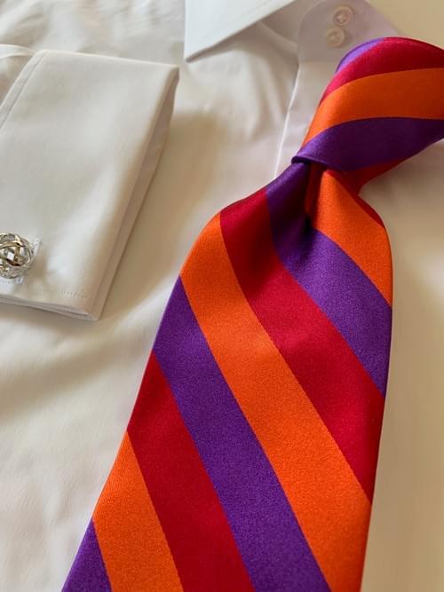 NEW - Sunset Bonfrire Satin Striped Tie