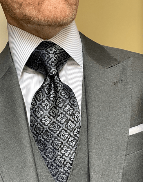 NEW - Black Silver Executive Tapestry Tie