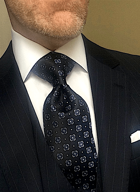 CLEARANCE: Navy with Blue Fleurette Tie