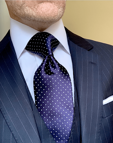 NEW - Navy Blue Micro-Dot Tie