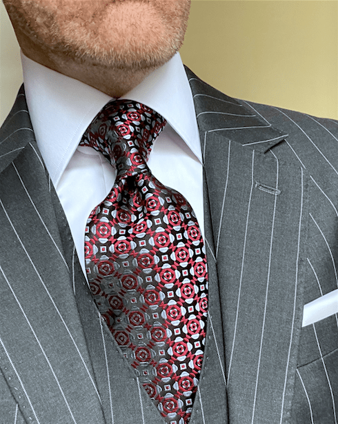 NEW - Red Silver Midtown Tie