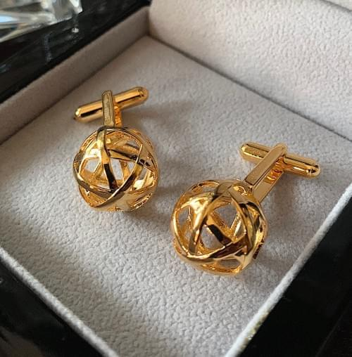 NEW - 24k Gold Plated Banded Spheres Cufflinks