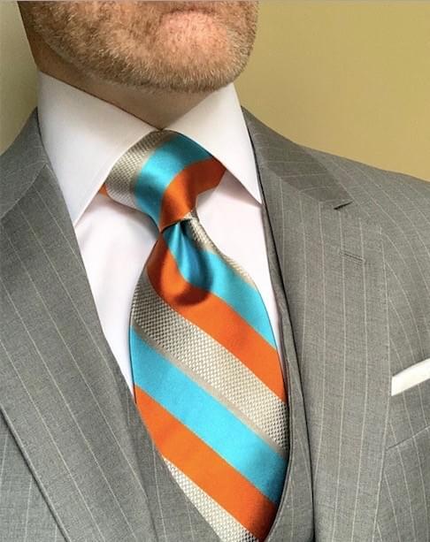 NEW - Miami Chainmail Striped Tie