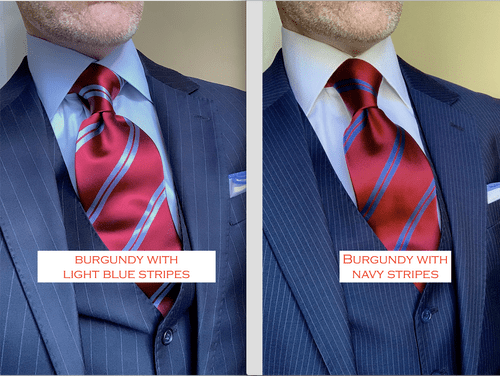 Back in Stock: Burgundy with Light Blue Academic Stripe Tie