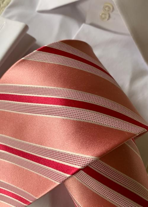 BACK IN STOCK - Watermelon Pink Satin Striped Tie