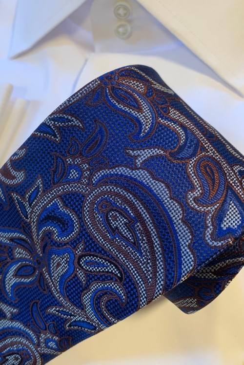 Blue Brown Silver Paisley Tie
