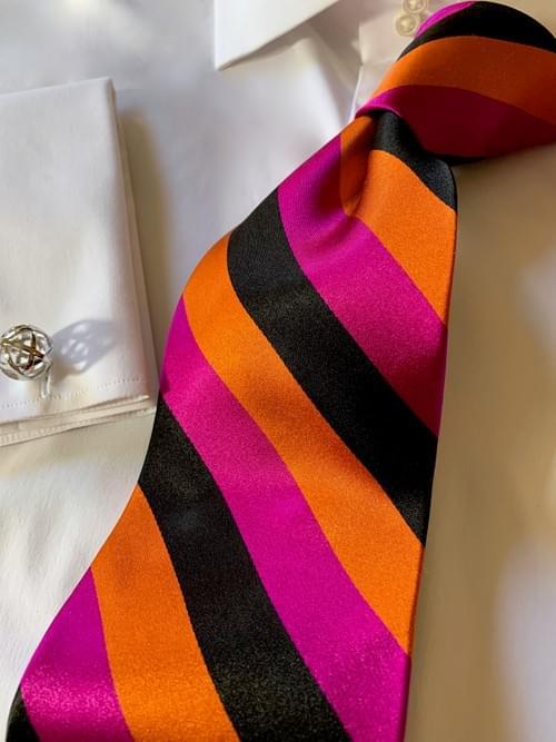 NEW - Fuschia Orange Black Satin Striped Tie