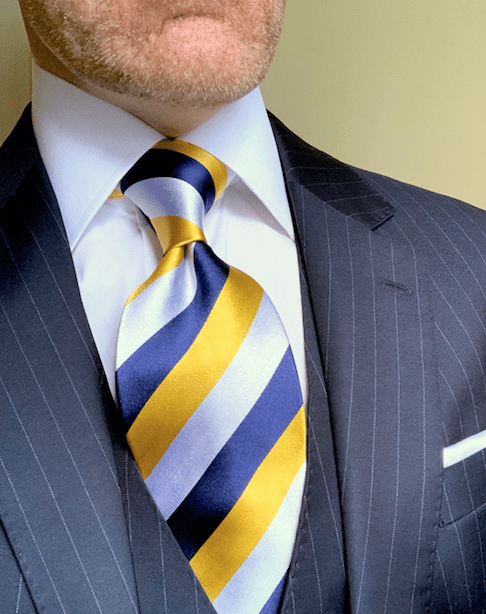 NEW - Classic Navy Rep Striped Tie - Gold