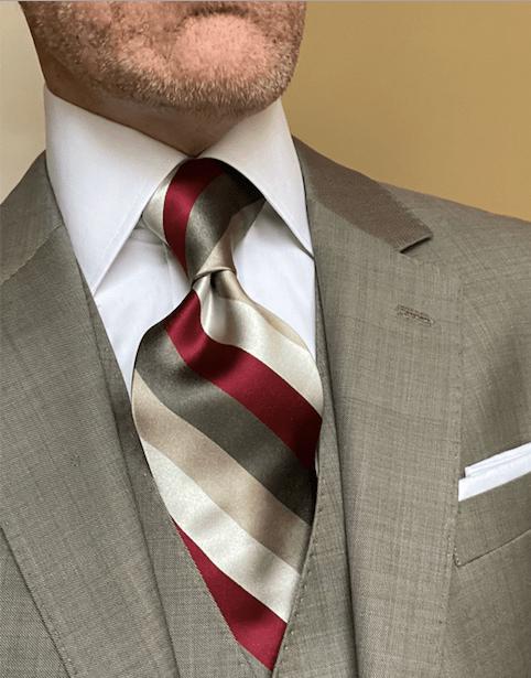 NEW - Burgundy Silver Tan Satin Striped Tie
