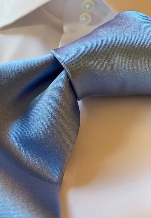 NEW - Light Blue Solid Satin Tie