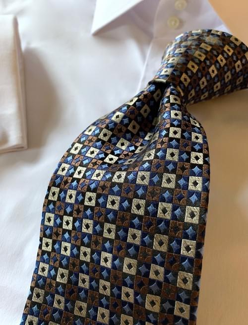 NEW - Brown Tan Light Blue Diamond Grid Tie