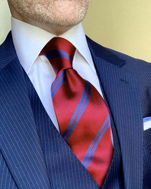 NEW - Burgundy with Navy Academic Stripe Tie