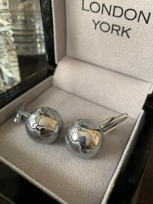 NEW - Polished Steel Globe Cufflinks