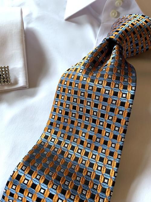 NEW - Orange Light Blue Waffle Grid Tie