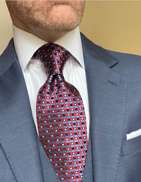NEW - Red Light Blue Waffle Grid Tie