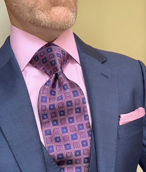 Pink and Purple Woven Squares Tie