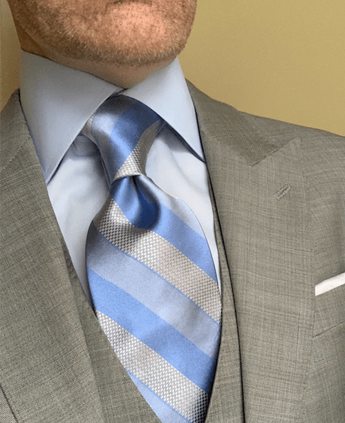 NEW - Silver Sky Blue Chainmail Striped Tie