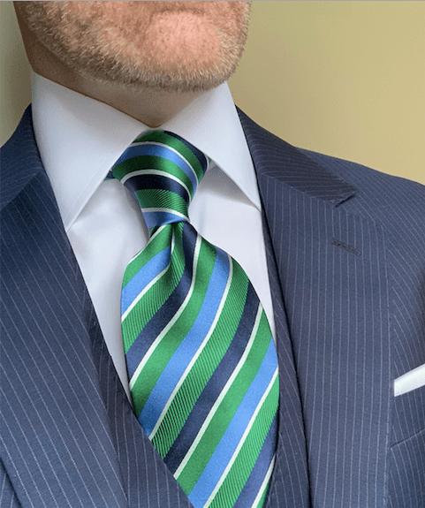 NEW - Green Navy Light Blue Ribbon Striped Tie