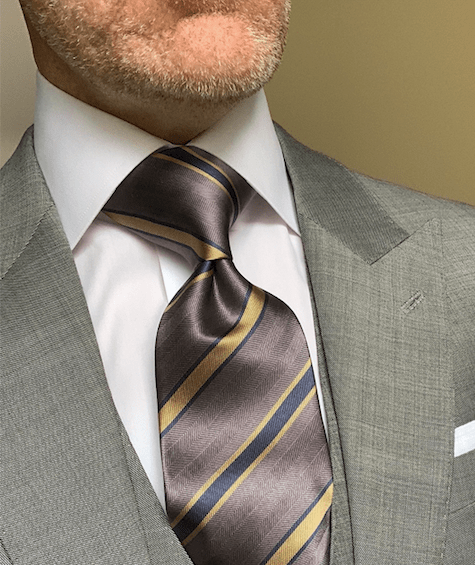 Grey and Tan Striped Tie