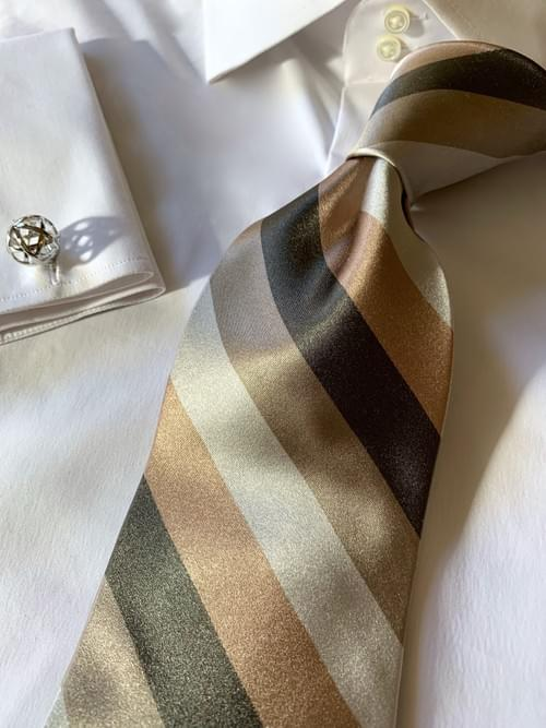 NEW - Pewter Sand Tan Satin Striped Tie