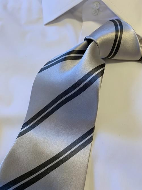 NEW - Silver with Steel Grey Academic Stripe Tie