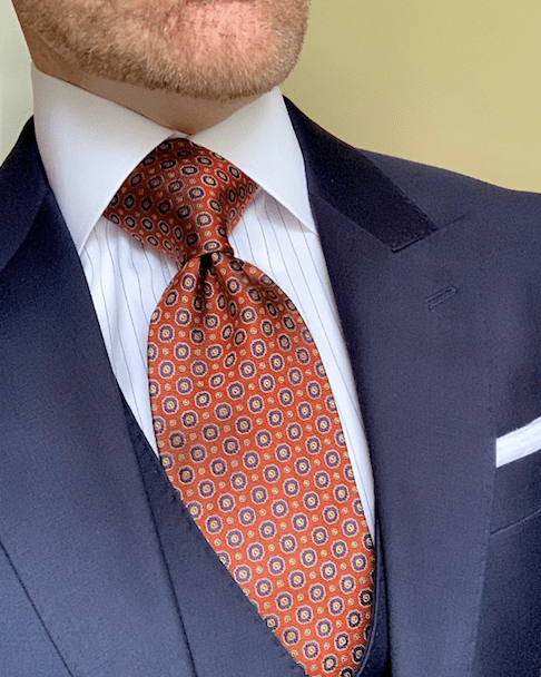 Orange and Navy Geometric Tie