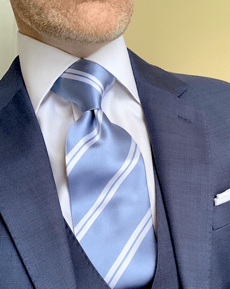 NEW - Light Blue with White Academic Stripe Tie