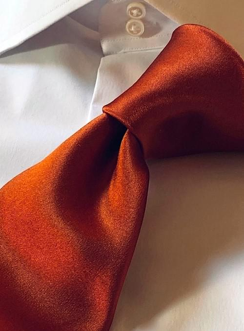 NEW - Rust Solid Satin Tie