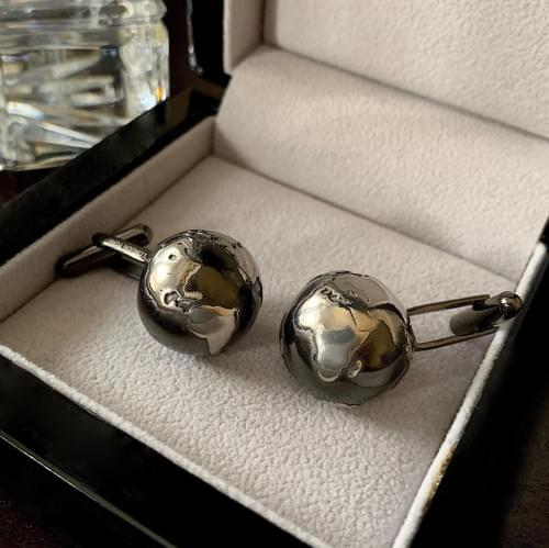 NEW - Black & Steel Globe Cufflinks