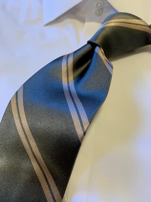 NEW - Steel Grey with Tan Academic Stripe Tie
