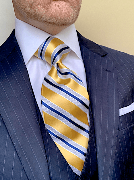 BACK IN STOCK- Yellow Navy Satin Striped Tie