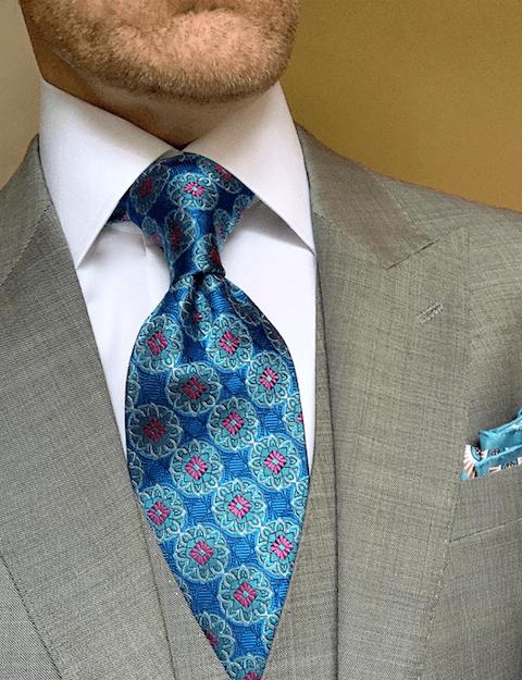 Aqua Blue Kaleidoscope Tie