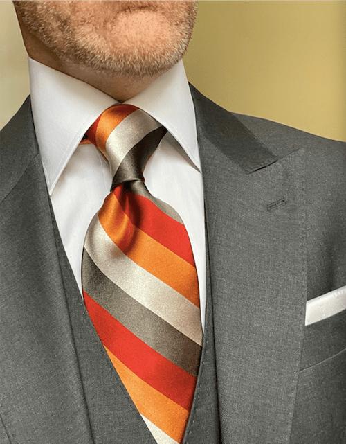 NEW - Orange Red Silver Satin Striped Tie