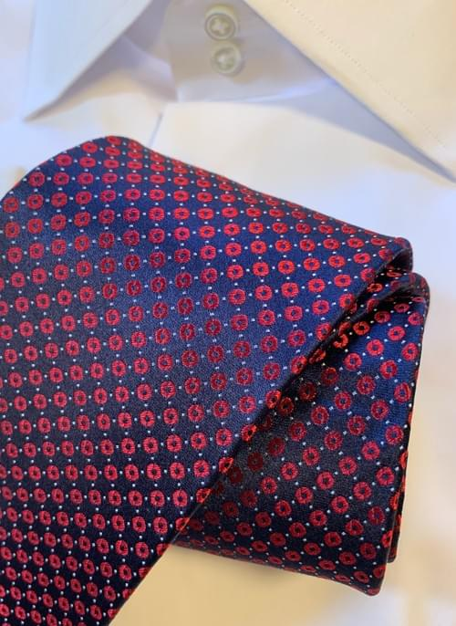 BACK IN STOCK - Red and Navy Corporate Dotted Tie