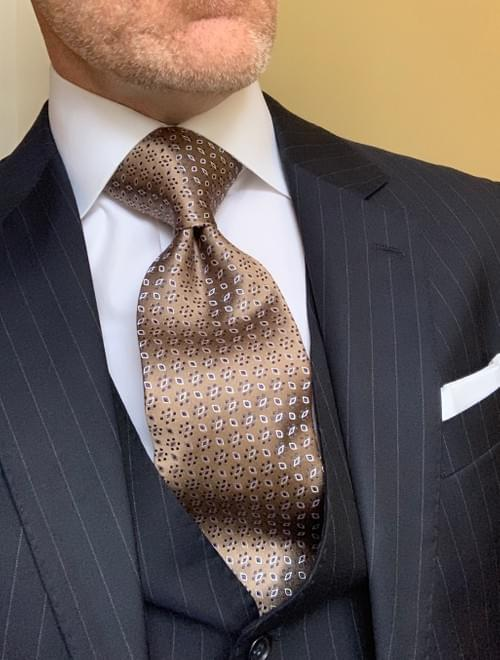 Tan Navy Snowfall Sheen Tie