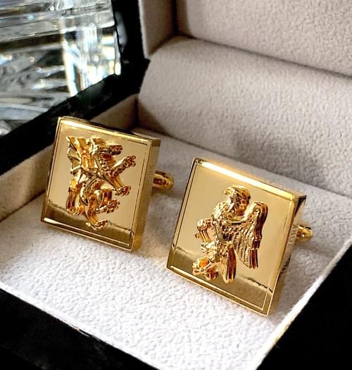 NEW - 24k Gold Plated Dragon & Eagle Cufflinks
