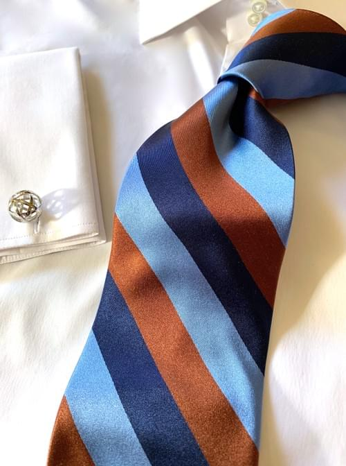 NEW - Navy Light Blue Brown Satin Striped Tie