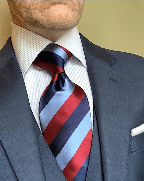 NEW - Classic Navy Rep Striped Tie - Light Blue Burgundy