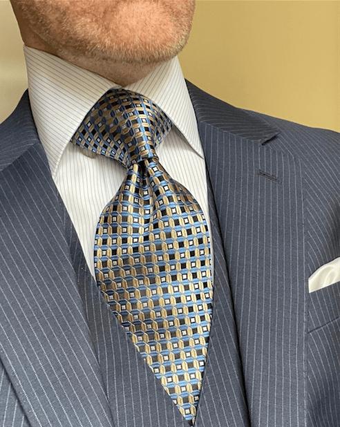 NEW - Light Blue Tan Waffle Grid Tie